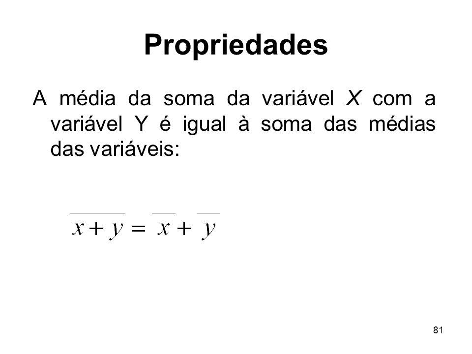 Propriedades A média da soma da variável X com a variável Y é igual à soma das médias das variáveis: