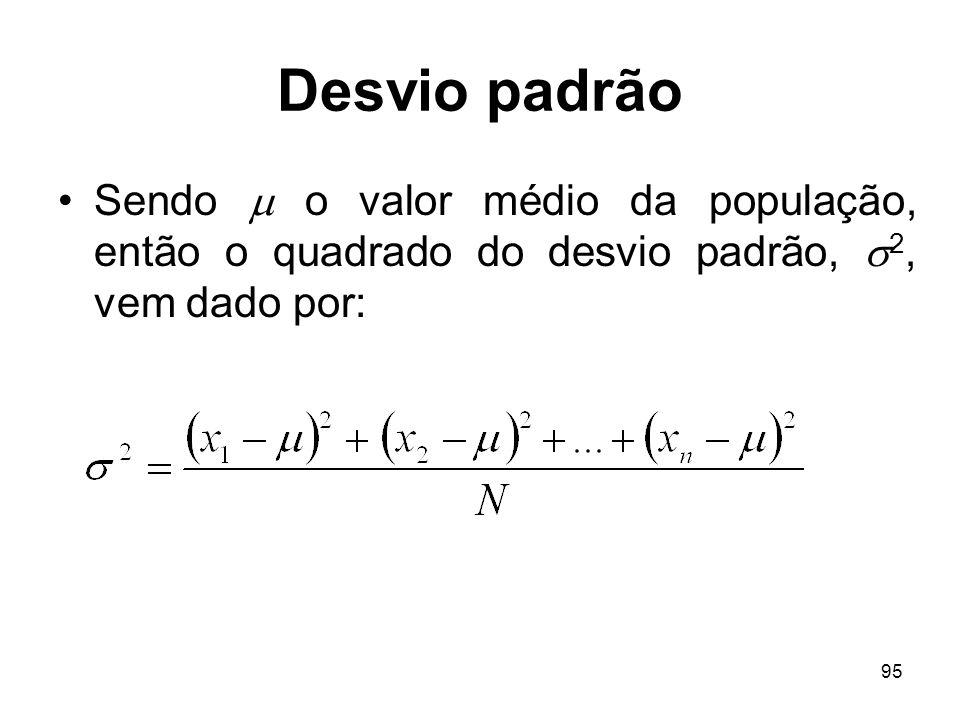 Desvio padrão Sendo  o valor médio da população, então o quadrado do desvio padrão, 2, vem dado por:
