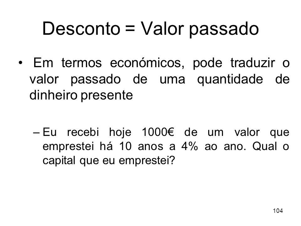 Desconto = Valor passado