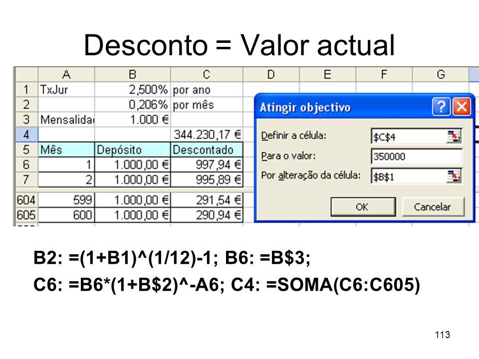 Desconto = Valor actual