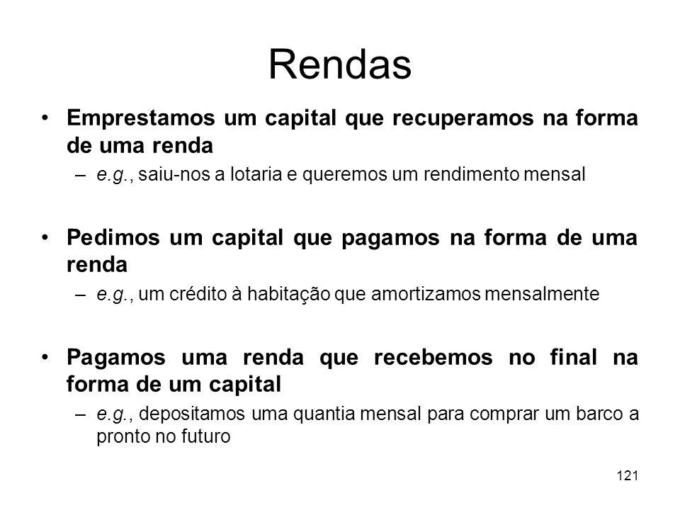 Rendas Emprestamos um capital que recuperamos na forma de uma renda