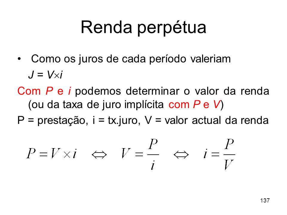 Renda perpétua Como os juros de cada período valeriam J = Vi