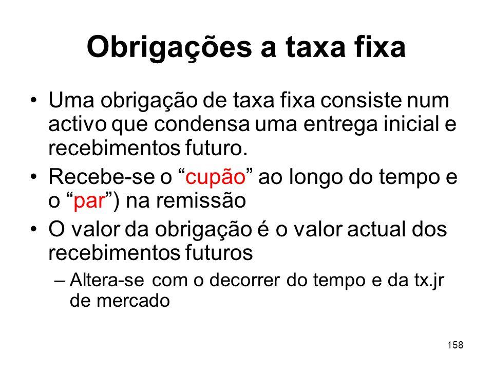 Obrigações a taxa fixa Uma obrigação de taxa fixa consiste num activo que condensa uma entrega inicial e recebimentos futuro.
