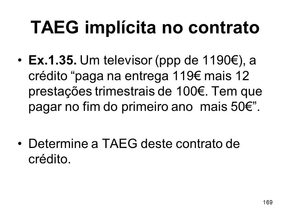TAEG implícita no contrato