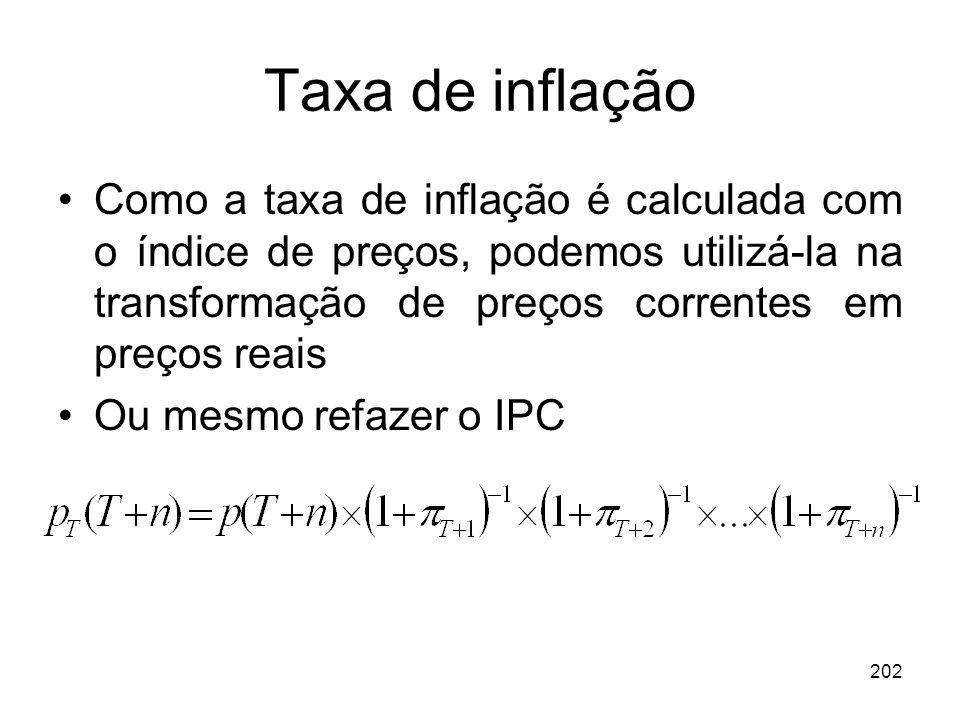 Taxa de inflação Como a taxa de inflação é calculada com o índice de preços, podemos utilizá-la na transformação de preços correntes em preços reais.