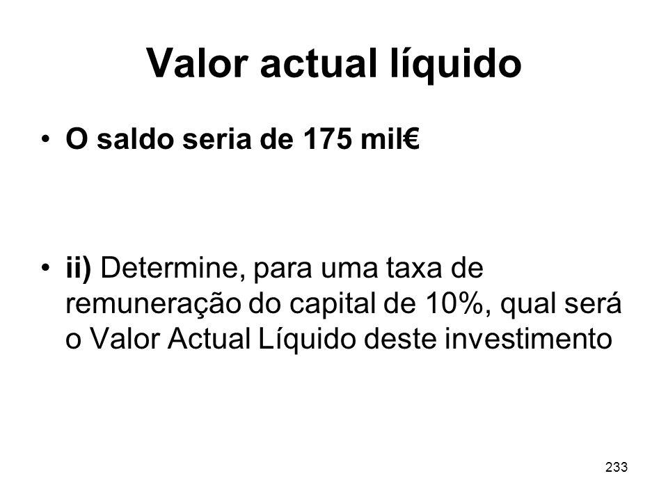Valor actual líquido O saldo seria de 175 mil€