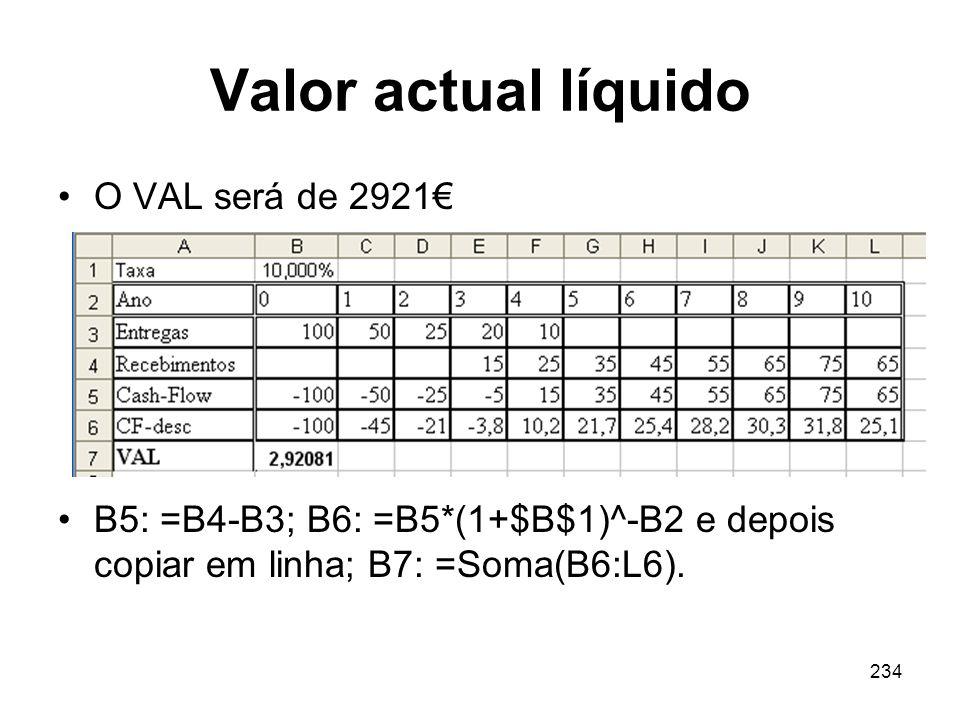 Valor actual líquido O VAL será de 2921€