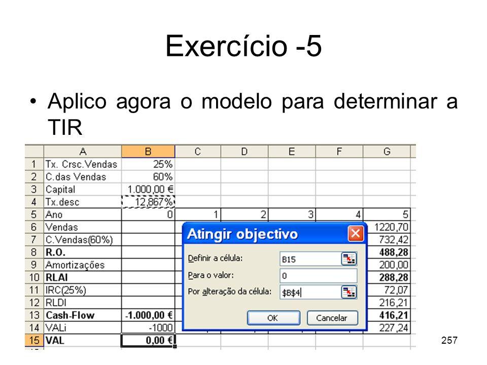 Exercício -5 Aplico agora o modelo para determinar a TIR