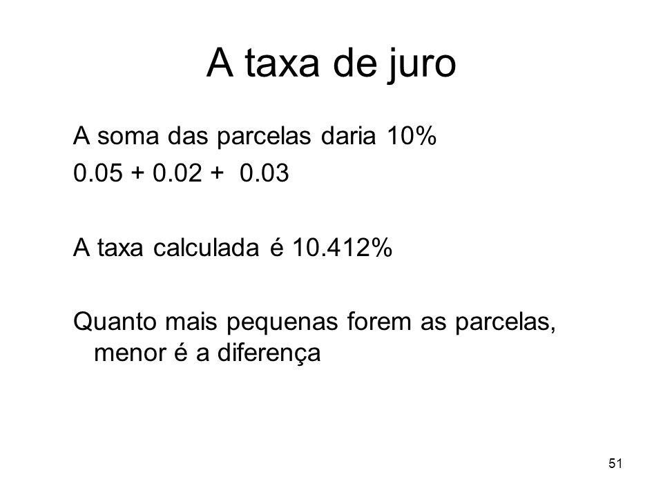 A taxa de juro A soma das parcelas daria 10% 0.05 + 0.02 + 0.03