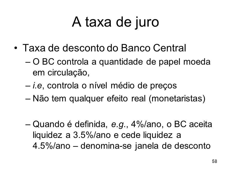 A taxa de juro Taxa de desconto do Banco Central