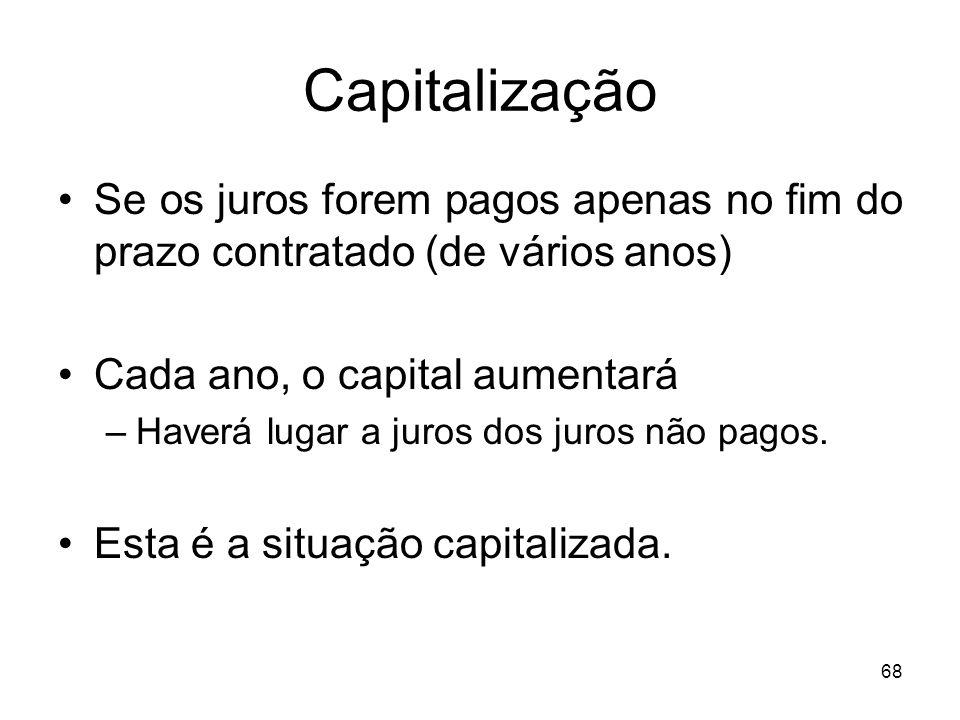 Capitalização Se os juros forem pagos apenas no fim do prazo contratado (de vários anos) Cada ano, o capital aumentará.