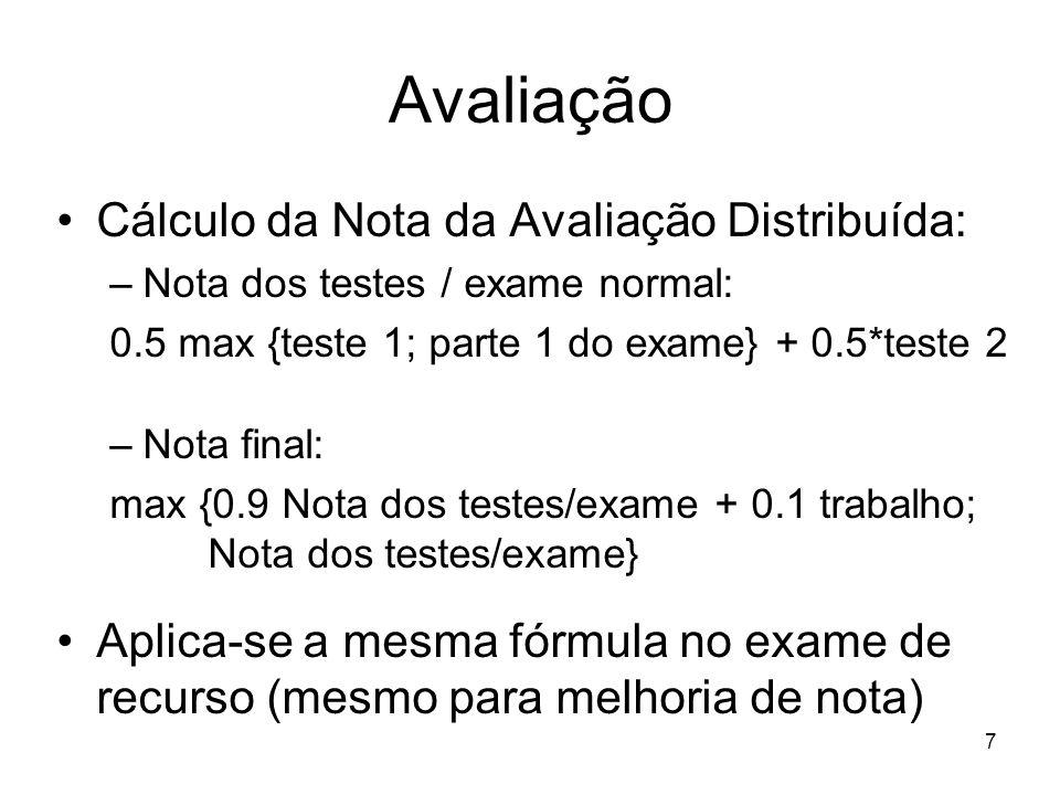 Avaliação Cálculo da Nota da Avaliação Distribuída: