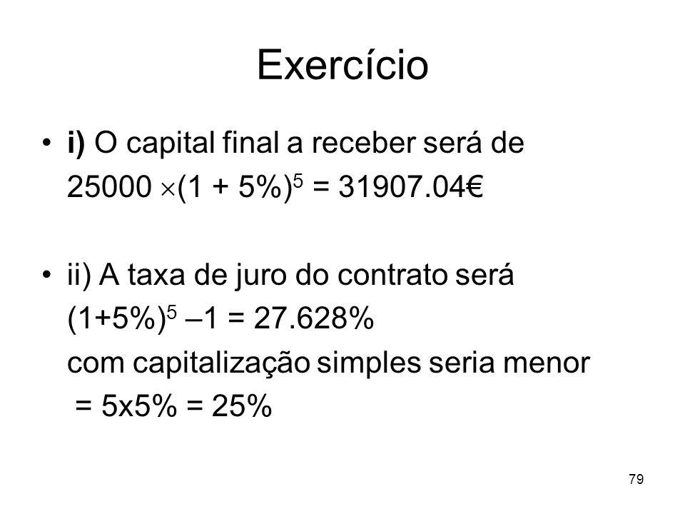 Exercício i) O capital final a receber será de