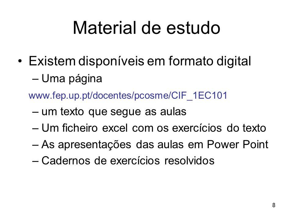 Material de estudo Existem disponíveis em formato digital Uma página