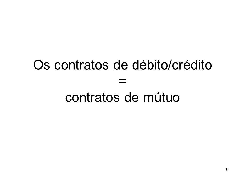Os contratos de débito/crédito = contratos de mútuo