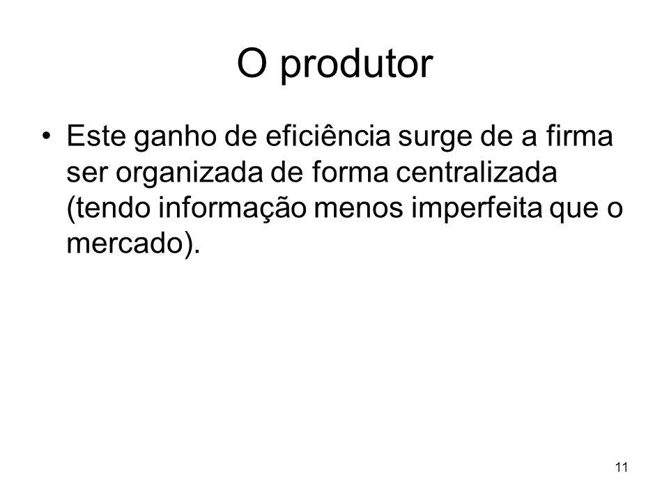 O produtor Este ganho de eficiência surge de a firma ser organizada de forma centralizada (tendo informação menos imperfeita que o mercado).