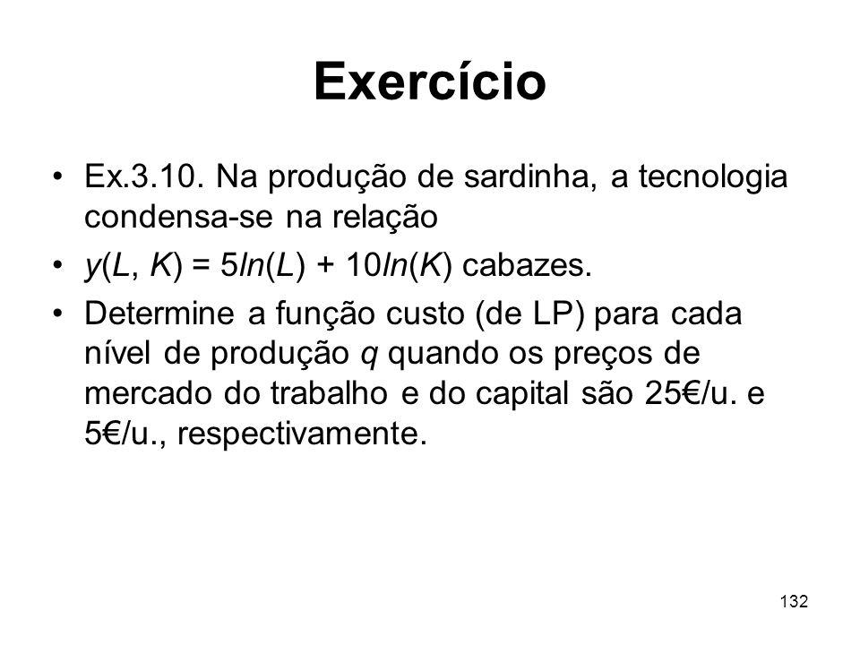 Exercício Ex.3.10. Na produção de sardinha, a tecnologia condensa-se na relação. y(L, K) = 5ln(L) + 10ln(K) cabazes.