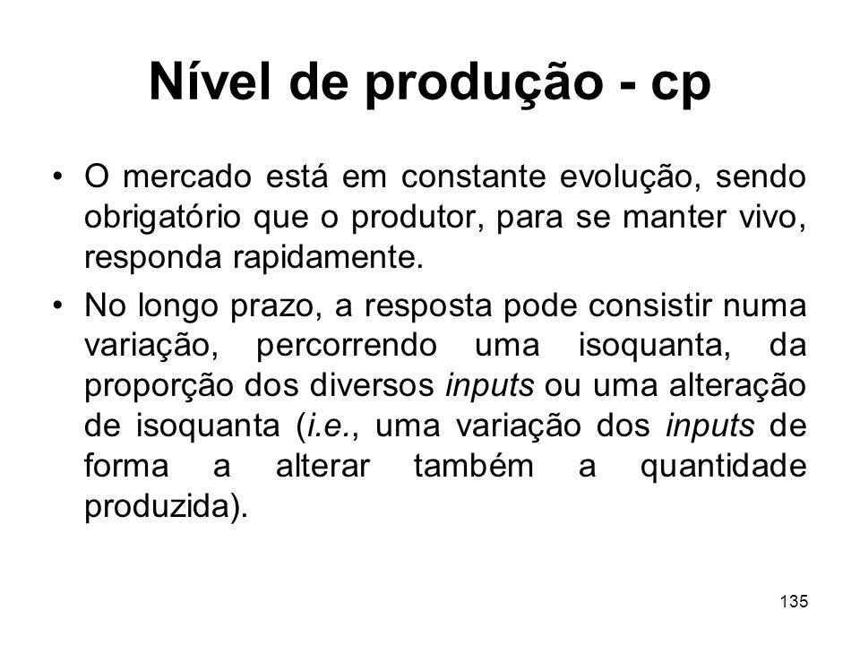 Nível de produção - cp O mercado está em constante evolução, sendo obrigatório que o produtor, para se manter vivo, responda rapidamente.
