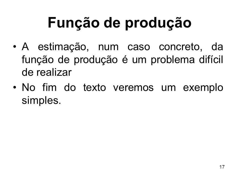 Função de produção A estimação, num caso concreto, da função de produção é um problema difícil de realizar.