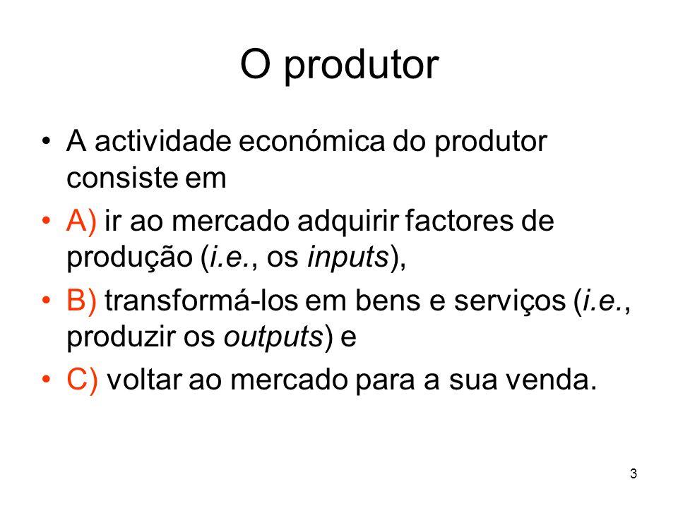 O produtor A actividade económica do produtor consiste em