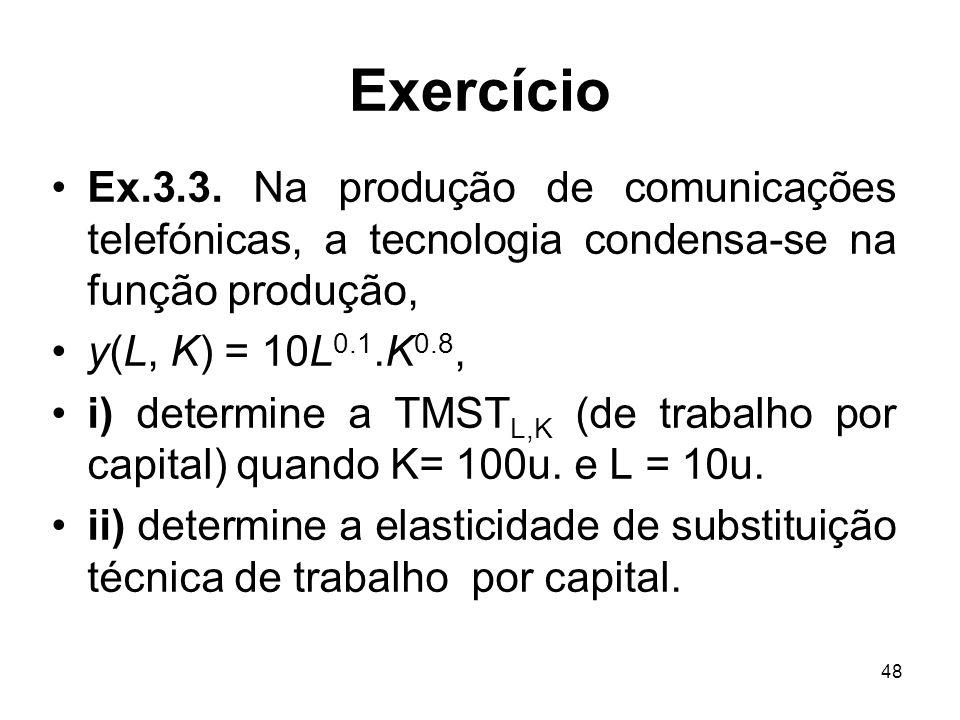 Exercício Ex.3.3. Na produção de comunicações telefónicas, a tecnologia condensa-se na função produção,