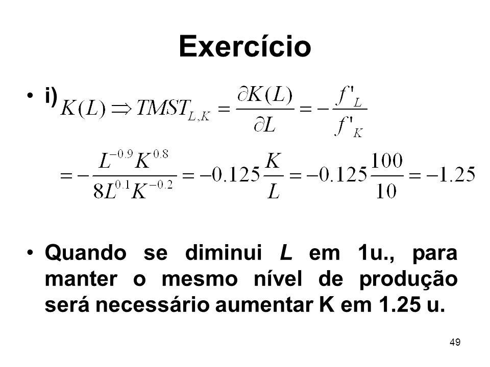 Exercício i) Quando se diminui L em 1u., para manter o mesmo nível de produção será necessário aumentar K em 1.25 u.