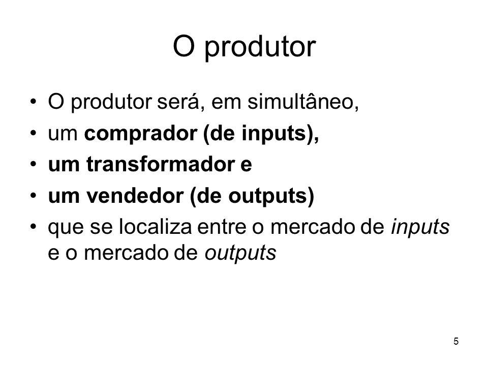 O produtor O produtor será, em simultâneo, um comprador (de inputs),