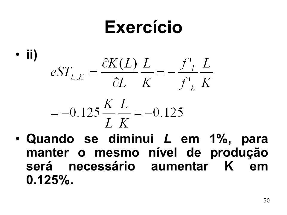 Exercício ii) Quando se diminui L em 1%, para manter o mesmo nível de produção será necessário aumentar K em 0.125%.