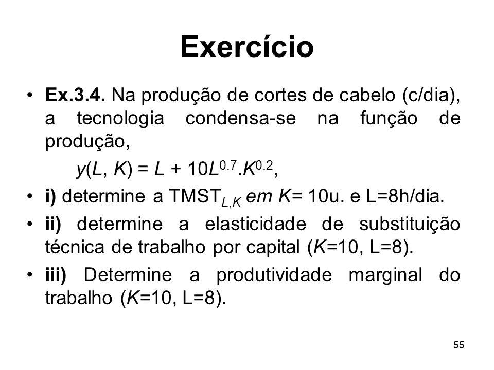 Exercício Ex.3.4. Na produção de cortes de cabelo (c/dia), a tecnologia condensa-se na função de produção,