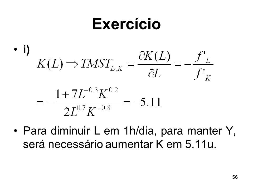 Exercício i) Para diminuir L em 1h/dia, para manter Y, será necessário aumentar K em 5.11u.