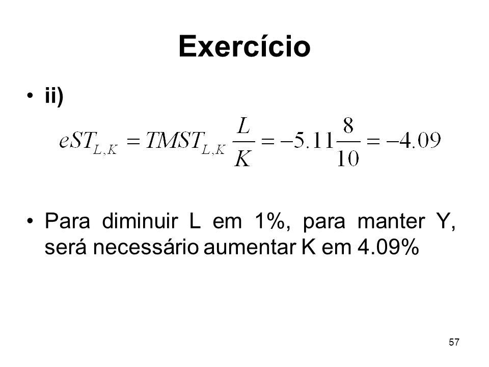 Exercício ii) Para diminuir L em 1%, para manter Y, será necessário aumentar K em 4.09%