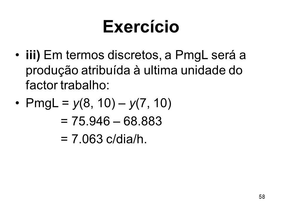Exercícioiii) Em termos discretos, a PmgL será a produção atribuída à ultima unidade do factor trabalho: