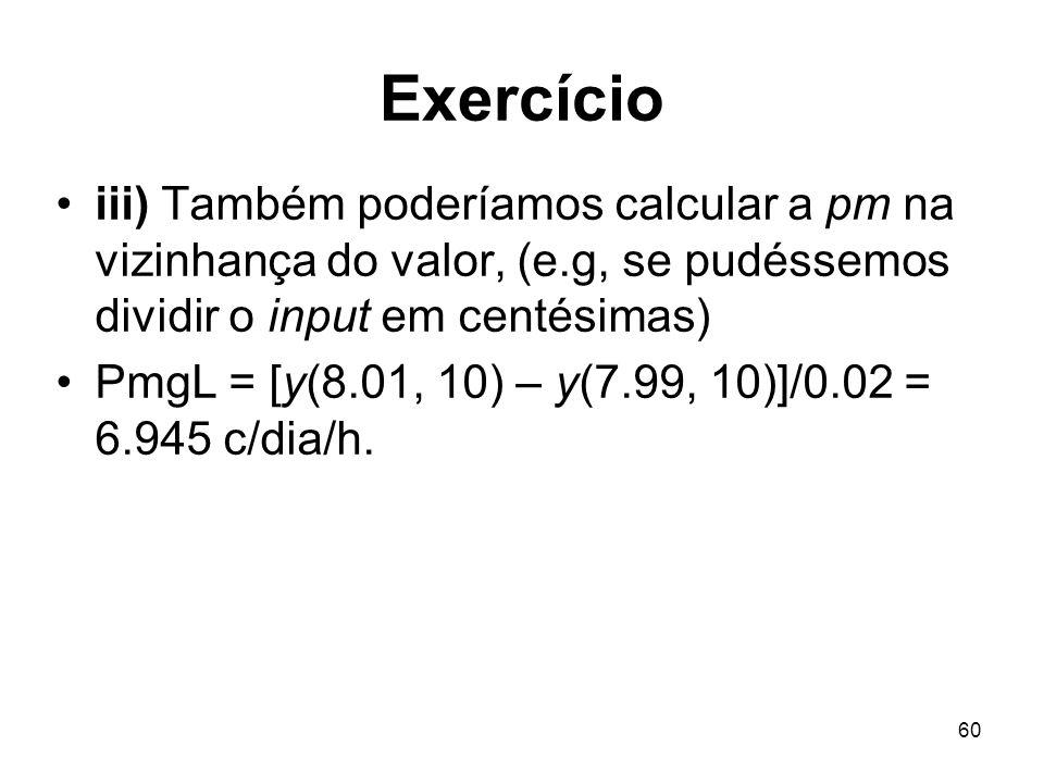 Exercícioiii) Também poderíamos calcular a pm na vizinhança do valor, (e.g, se pudéssemos dividir o input em centésimas)