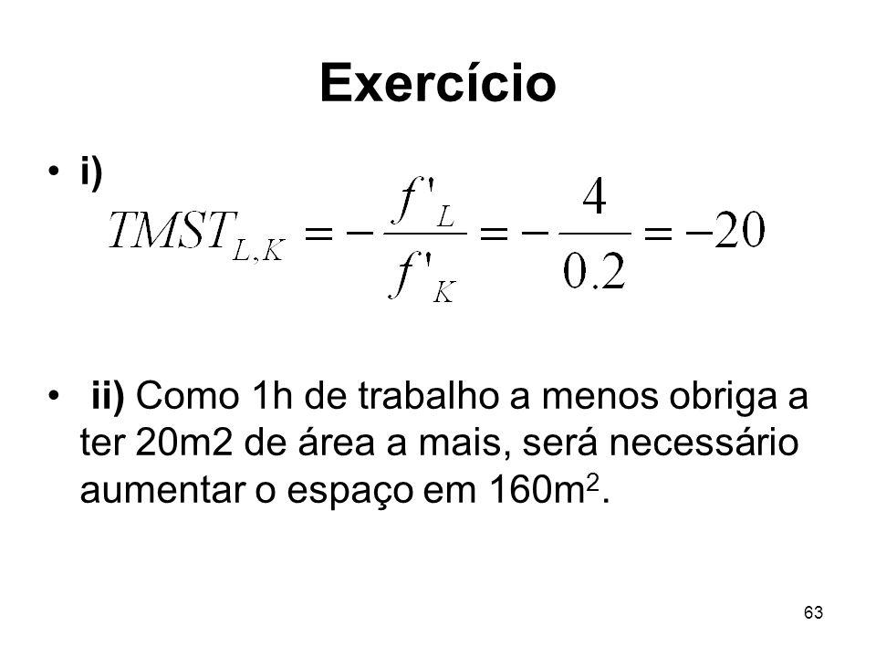 Exercício i) ii) Como 1h de trabalho a menos obriga a ter 20m2 de área a mais, será necessário aumentar o espaço em 160m2.