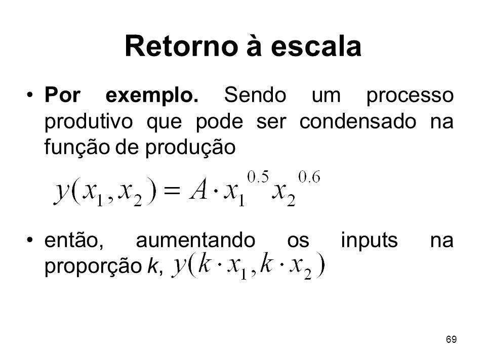 Retorno à escalaPor exemplo. Sendo um processo produtivo que pode ser condensado na função de produção.