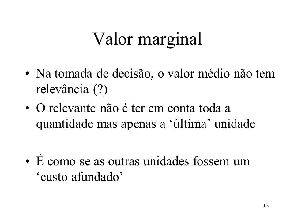 Valor marginal Na tomada de decisão, o valor médio não tem relevância ( )
