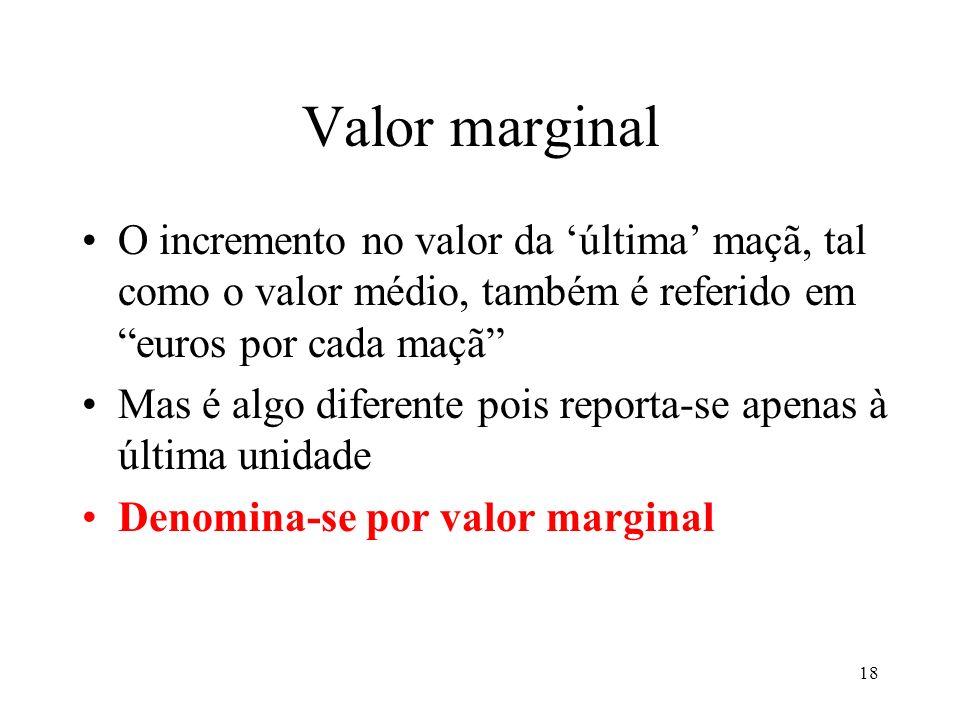 Valor marginal O incremento no valor da 'última' maçã, tal como o valor médio, também é referido em euros por cada maçã