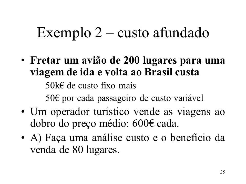 Exemplo 2 – custo afundado