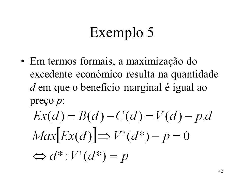 Exemplo 5 Em termos formais, a maximização do excedente económico resulta na quantidade d em que o benefício marginal é igual ao preço p: