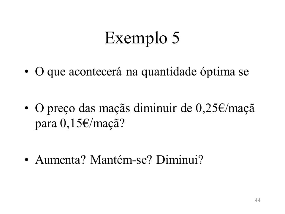 Exemplo 5 O que acontecerá na quantidade óptima se
