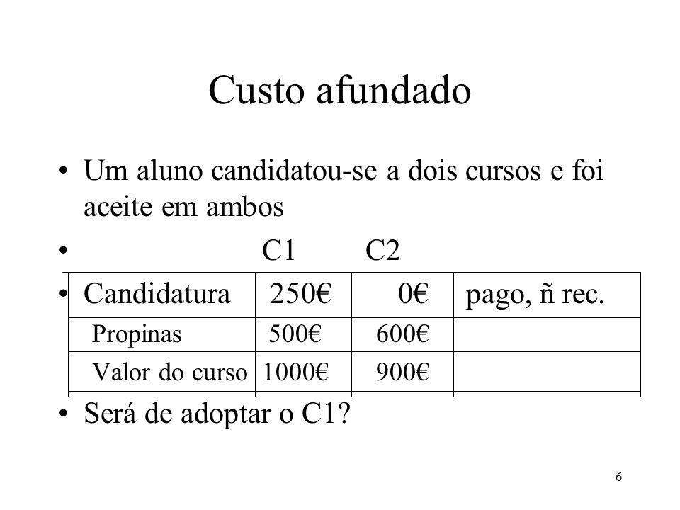 Custo afundado Um aluno candidatou-se a dois cursos e foi aceite em ambos. C1 C2. Candidatura 250€ 0€ pago, ñ rec.
