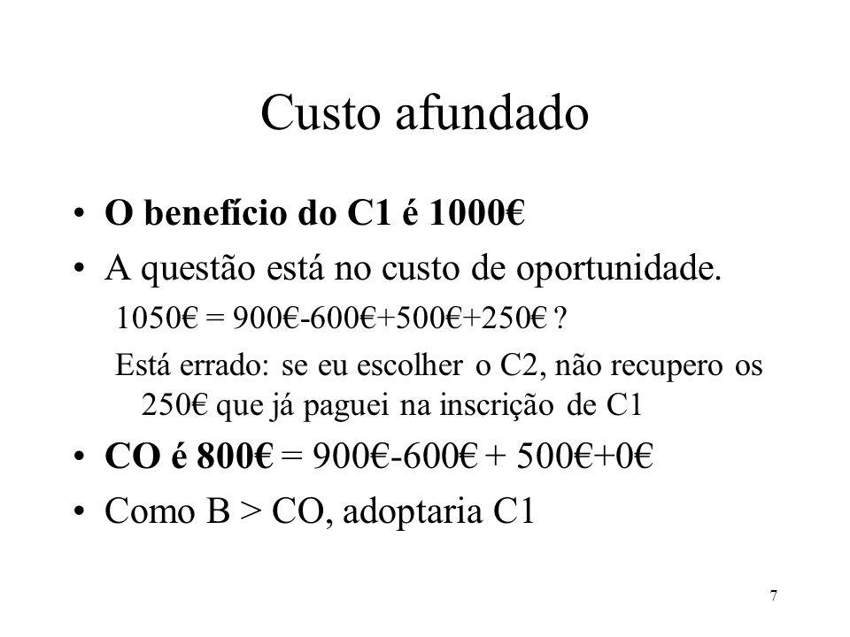 Custo afundado O benefício do C1 é 1000€