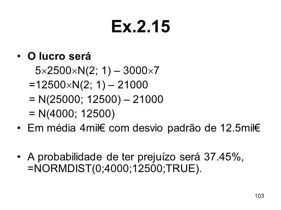 Ex.2.15 O lucro será 52500N(2; 1) – 30007 =12500N(2; 1) – 21000