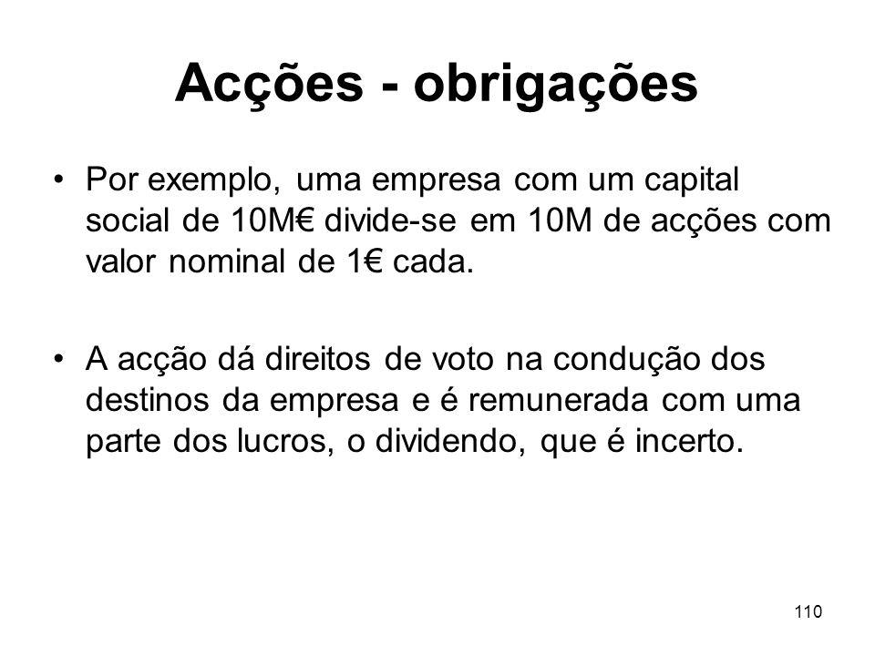 Acções - obrigações Por exemplo, uma empresa com um capital social de 10M€ divide-se em 10M de acções com valor nominal de 1€ cada.