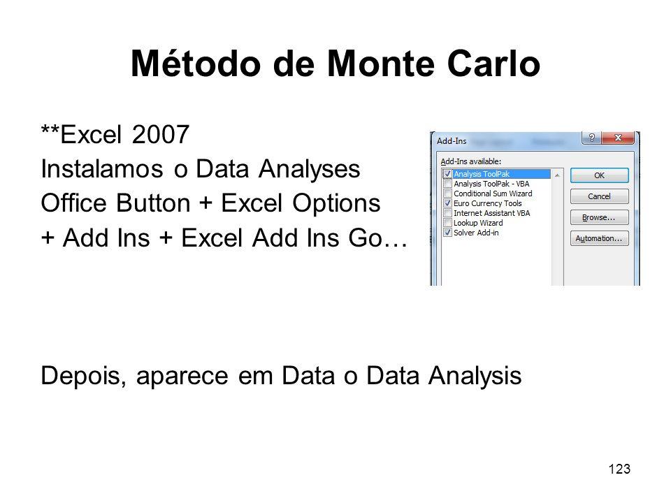 Método de Monte Carlo **Excel 2007 Instalamos o Data Analyses