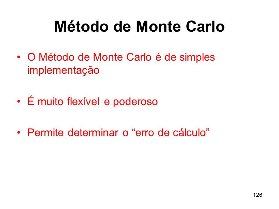 Método de Monte Carlo O Método de Monte Carlo é de simples implementação. É muito flexível e poderoso.