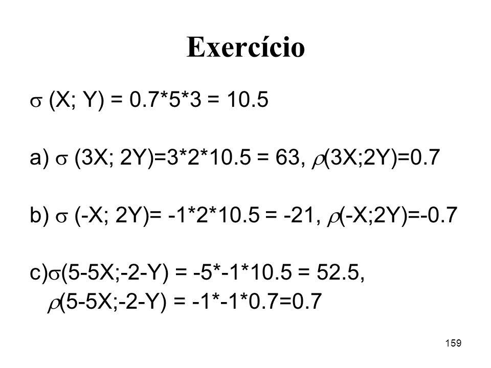Exercício  (X; Y) = 0.7*5*3 = 10.5. a)  (3X; 2Y)=3*2*10.5 = 63, (3X;2Y)=0.7. b)  (-X; 2Y)= -1*2*10.5 = -21, (-X;2Y)=-0.7.