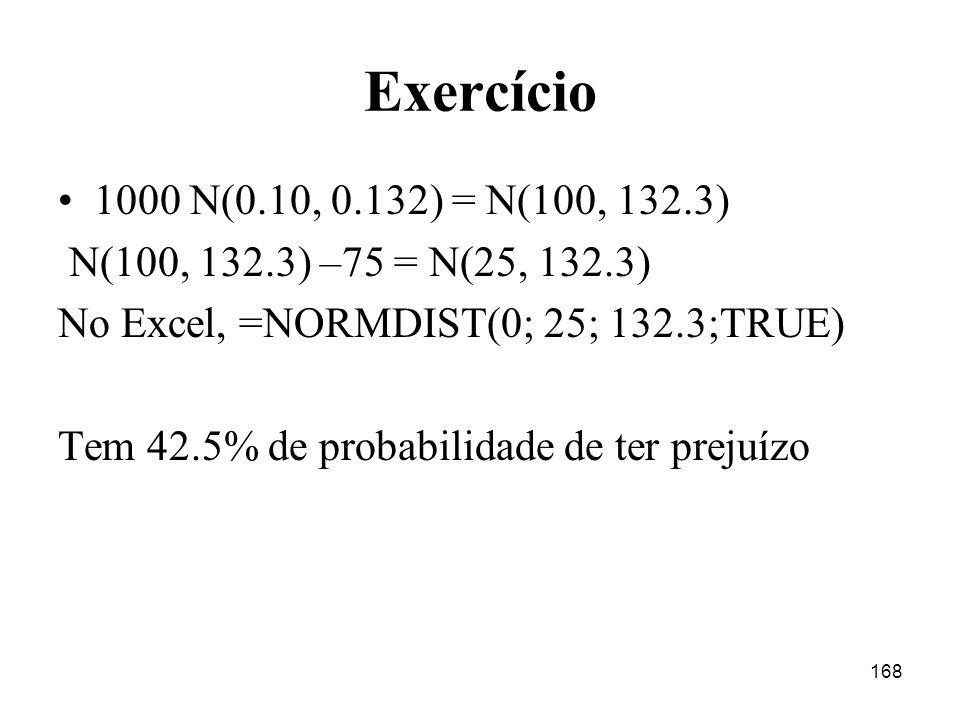 Exercício 1000 N(0.10, 0.132) = N(100, 132.3) N(100, 132.3) –75 = N(25, 132.3) No Excel, =NORMDIST(0; 25; 132.3;TRUE)
