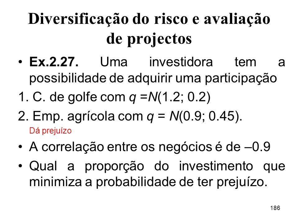 Diversificação do risco e avaliação de projectos