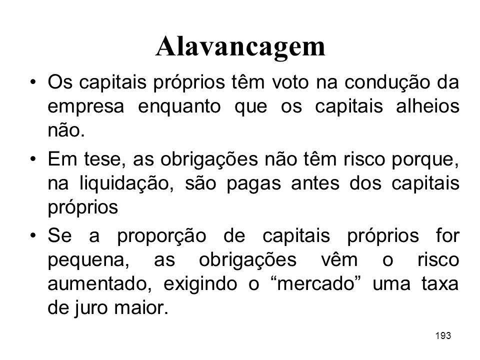Alavancagem Os capitais próprios têm voto na condução da empresa enquanto que os capitais alheios não.